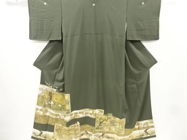 【IDnet】 金彩荒波に庭園風景模様刺繍三つ紋色留袖(比翼付き)【リサイクル】【中古】【着】