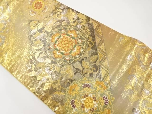 【IDnet】 本金斜め縞に華紋更紗模様織り出し袋帯【リサイクル】【中古】【着】