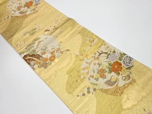 【IDnet】 花鳥風月模様織出し袋帯【リサイクル】【中古】【着】