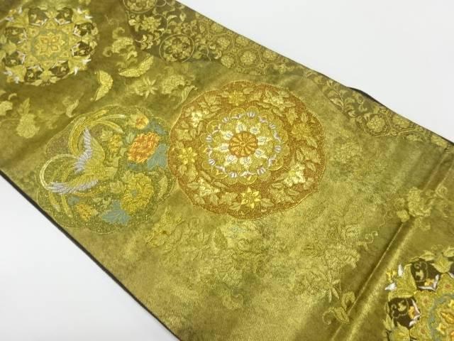 【IDnet】 繻珍織引箔花鳥に唐花・蝶模様織出し袋帯【リサイクル】【中古】【着】