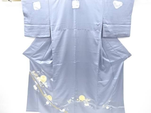 【IDnet】 作家物 金彩熨斗に菊唐草模様刺繍三つ紋単衣色留袖(比翼付き)【リサイクル】【中古】【着】