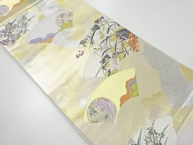【IDnet】 引き箔扇面に草花模様織り出し袋帯【リサイクル】【中古】【着】
