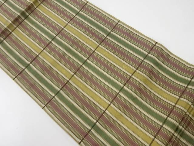 【IDnet】 川島織物製 縞に抽象模様織出し全通洒落袋帯【リサイクル】【中古】【着】