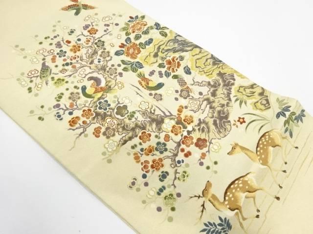 【IDnet】 鹿に花鳥模様織出し袋帯【リサイクル】【中古】【着】