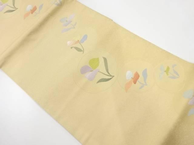 【IDnet】 未使用品 丸紋に花模様織出し開き名古屋帯(額縁仕立て)【リサイクル】【着】