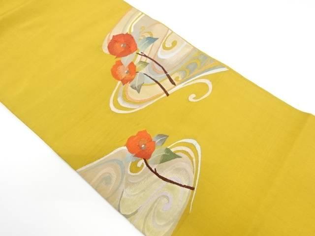 【IDnet】 流水に椿模様織出し袋帯【リサイクル】【中古】【着】