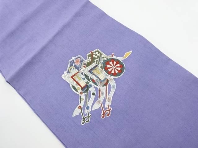 【IDnet】 手織り節紬御所車模様名古屋帯【リサイクル】【中古】【着】