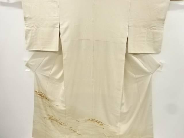 【IDnet】 荒波に草花・熨斗模様五つ紋刺繍色留袖(比翼付き)【リサイクル】【中古】【着】