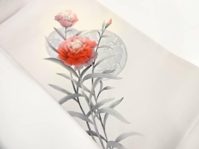 【IDnet】 作家物 塩瀬手描き草花に絵皿模様名古屋帯【リサイクル】【中古】【着】