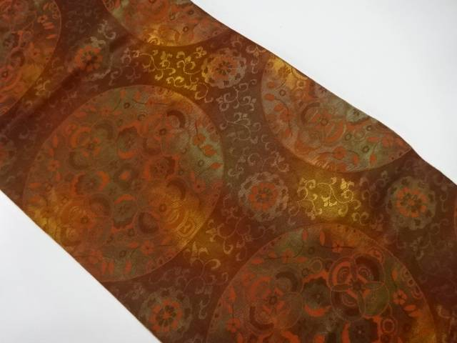 【IDnet】 織錦丸紋に抽象花模様織出し名古屋帯【リサイクル】【中古】【着】