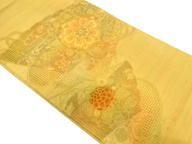 【IDnet】 汕頭相良刺繍扇に草花模様袋帯【リサイクル】【中古】【着】