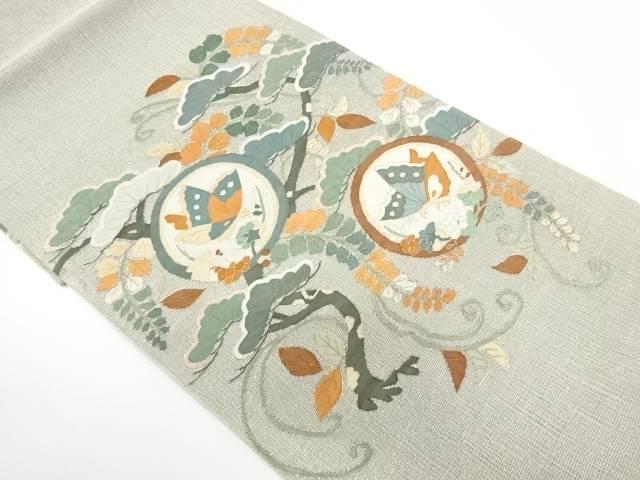 【IDnet】 未使用品 すくい織蝶に松模様織出し袋帯【リサイクル】【着】