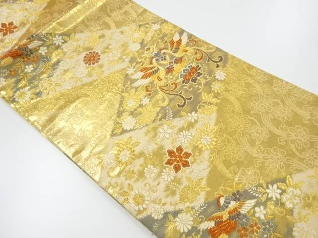 【IDnet】 本金 向かい尾長鳥に花模様織り出し袋帯【リサイクル】【中古】【着】