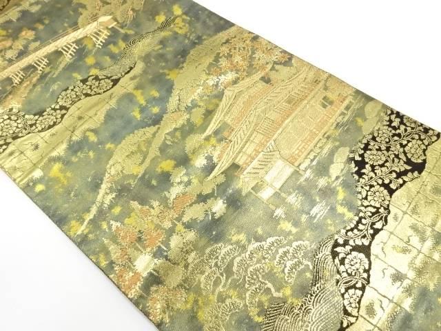 【IDnet】 服部織物製 こはく錦寺院風景模様織出し袋帯【リサイクル】【中古】【着】