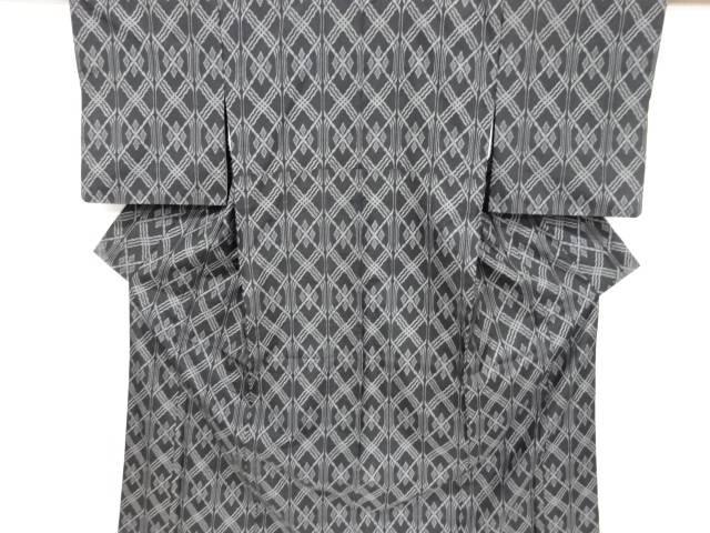 【IDnet】 幾何学模様織り出し本場村山大島紬着物・道行コートアンサンブル【リサイクル】【着】