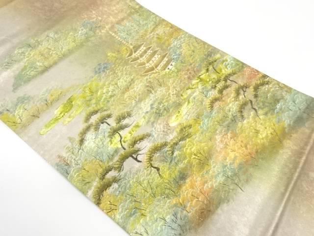 【IDnet】 金彩螺鈿寺院風景模様袋帯【リサイクル】【中古】【着】