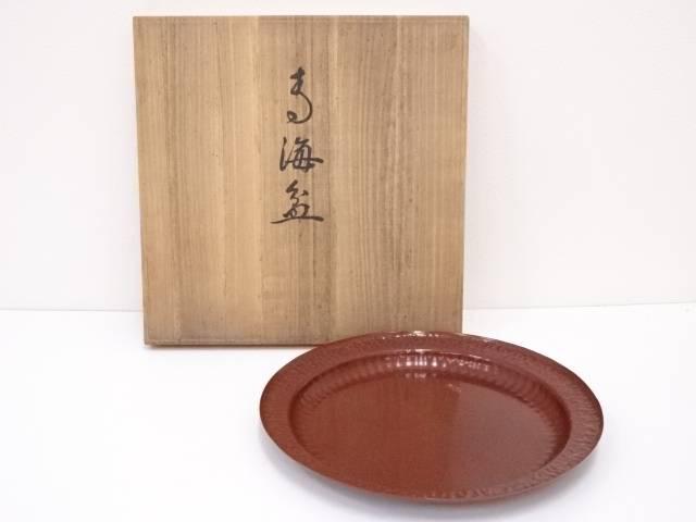 【IDnet】 生駒製 銅青海盆【中古】【道】
