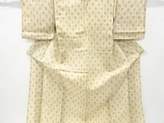 【IDnet】 本場近江上布赤麻幾何学模様織り出し着物【アンティーク】【中古】【着】