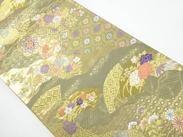 【IDnet】 純金二重箔 道長取りに花古典柄織り出し袋帯【リサイクル】【中古】【着】