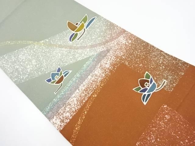 【IDnet】 作家物 手描き ローケツ採 遠州椿模様袋帯【リサイクル】【中古】【着】