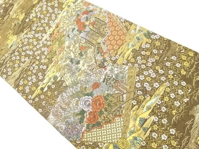 【IDnet】 本金桧扇に花車模様織り出し袋帯【リサイクル】【中古】【着】