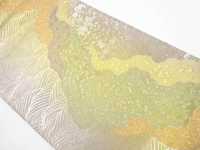 【IDnet】 金銀糸波に花更紗模様織り出し袋帯【リサイクル】【中古】【着】