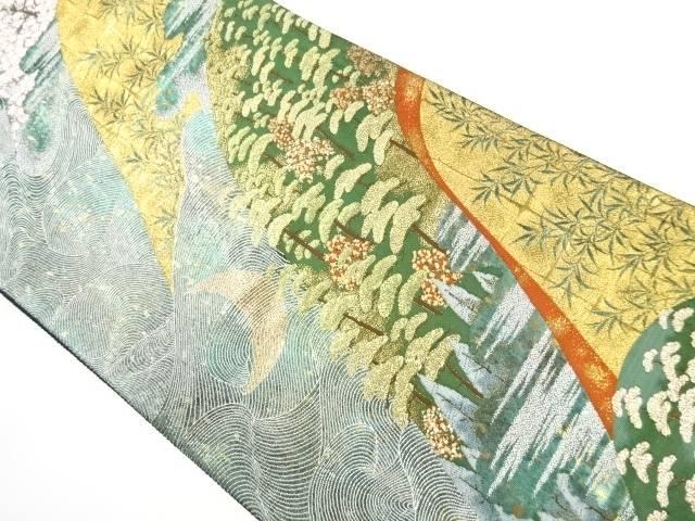【IDnet】 金糸遠山に桜・松模様織り出し袋帯【リサイクル】【中古】【着】