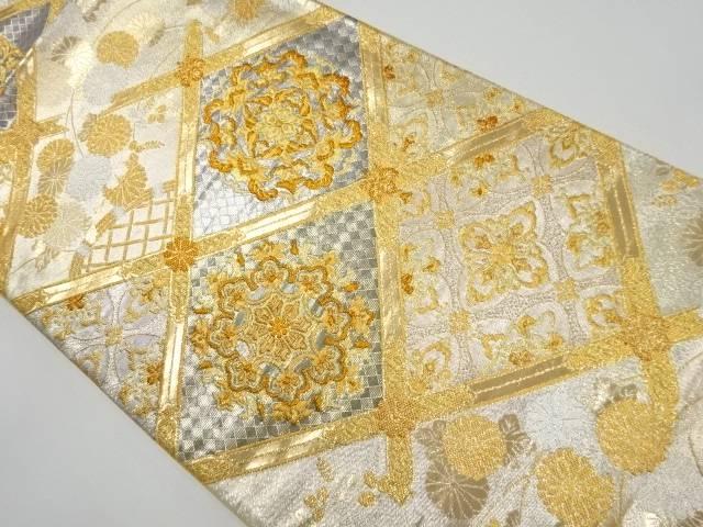 【IDnet】 本金格天井に華紋・菊模様織り出し袋帯【リサイクル】【中古】【着】