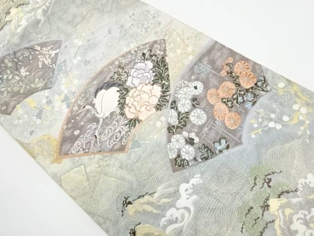 【IDnet】 九百錦地紙に牡丹・鶴模様織り出し袋帯【リサイクル】【中古】【着】