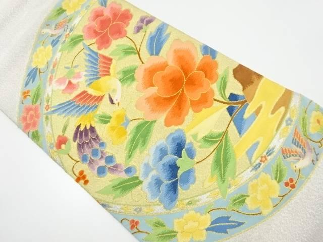 【IDnet】 綴れ絵皿に花鳥模様織り出し袋帯【リサイクル】【中古】【着】