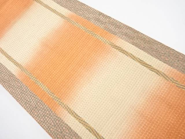【IDnet】 金糸 縞に重ね菱模様織り出し全通袋帯【リサイクル】【中古】【着】