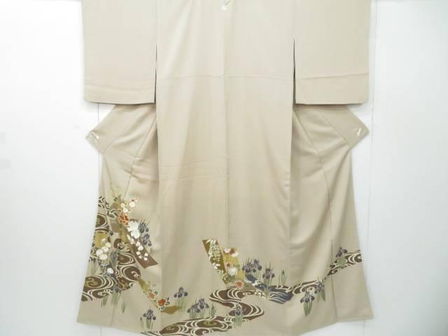 【IDnet】 色留袖 金駒刺繍 金彩 流水に菖蒲文 着物【リサイクル】【中古】【着】