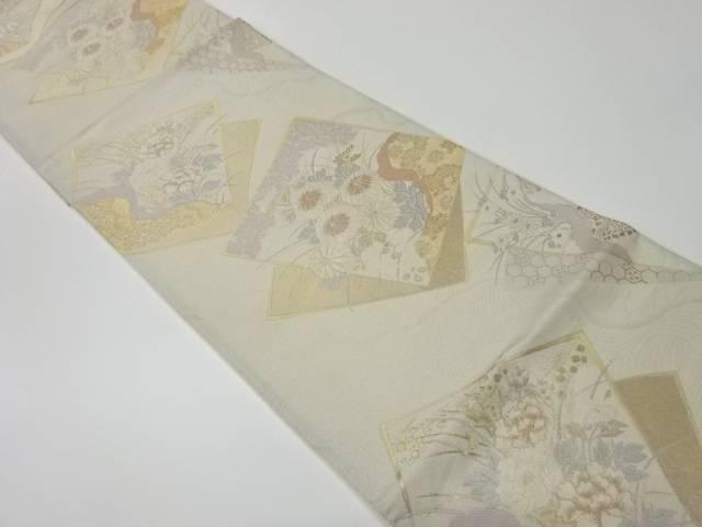 【IDnet】 色紙に花々模様織出し袋帯【リサイクル】【中古】【着】