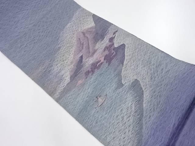 【IDnet】 未使用品 すくい織海辺風景模様織出し夏用洒落袋帯【リサイクル】【着】