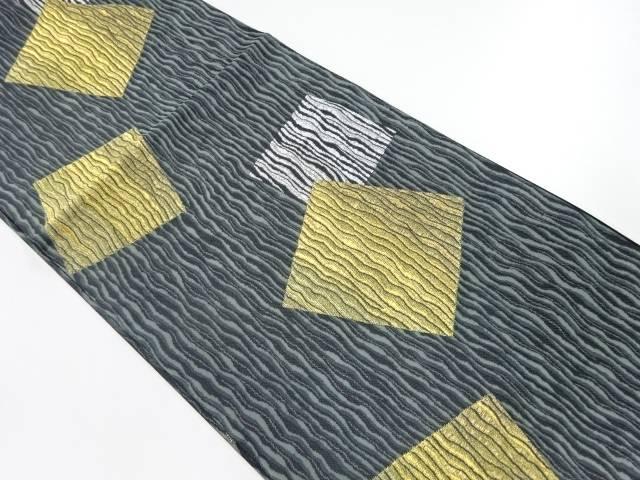 【IDnet】 未使用品 金銀糸よろけ縞に色紙模様織出し袋帯【リサイクル】【着】