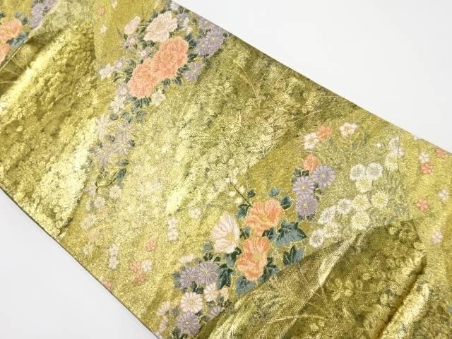 【IDnet】 引箔 牡丹に草花模様織り出し袋帯【リサイクル】【中古】【着】