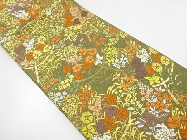 【IDnet】 唐織草花に蝶模様織り出し袋帯【リサイクル】【中古】【着】