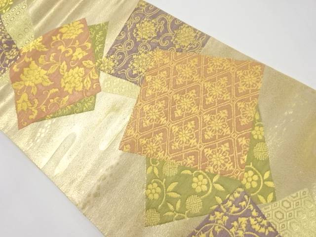 【IDnet】 本金 色紙に花唐草模様織り出し袋帯【リサイクル】【中古】【着】