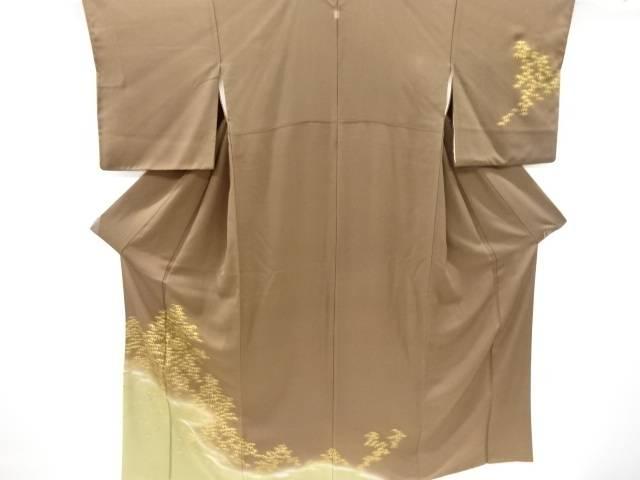 【IDnet】 竹笹模様刺繍一つ紋訪問着【リサイクル】【中古】【着】