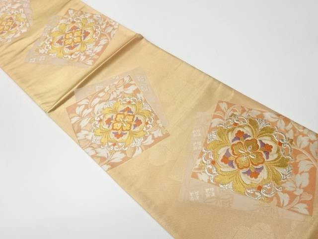 【IDnet】 未使用品 色紙に華紋模様織出し袋帯【リサイクル】【着】