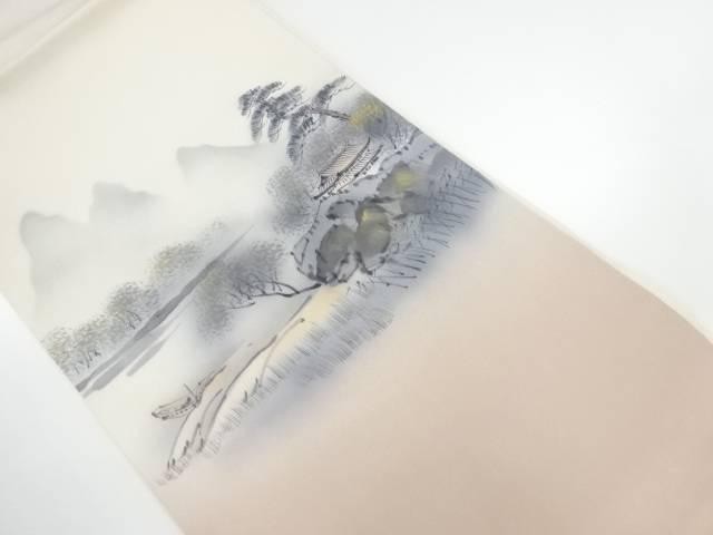 【IDnet】 塩瀬手描き風景模様名古屋帯【リサイクル】【中古】【着】