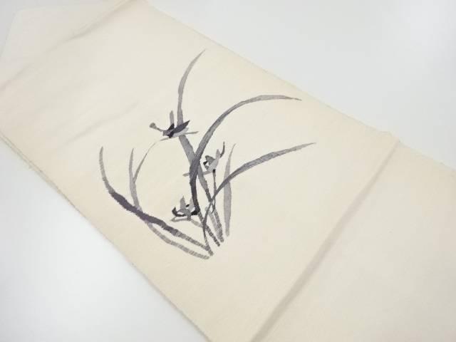 【IDnet】 未使用品 節紬 草花模様織り出し名古屋帯【リサイクル】【着】