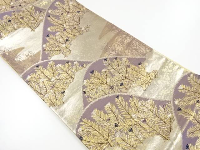 【IDnet】 佐賀錦 遠山に若松模様織り出し袋帯【リサイクル】【中古】【着】
