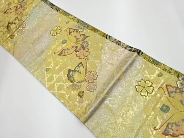 【IDnet】 籠目に胡蝶・花々模様織出し袋帯【リサイクル】【中古】【着】