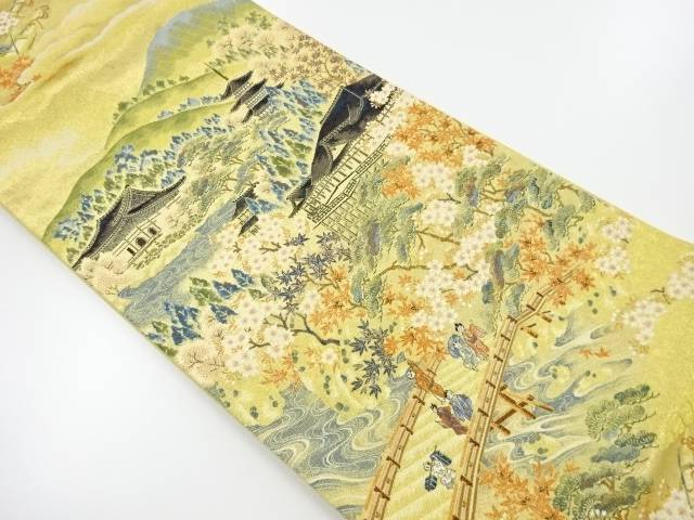【IDnet】 京風景模様織り出し袋帯【リサイクル】【中古】【着】