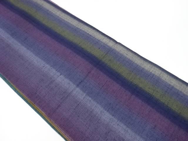 【IDnet】 手織り節紬 縞模様織り出しリバーシブル袋帯【リサイクル】【中古】【着】