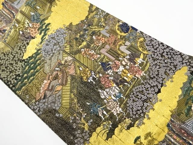 【IDnet】 本金 屋敷に十二単・時代人物模様織り出し袋帯【リサイクル】【中古】【着】