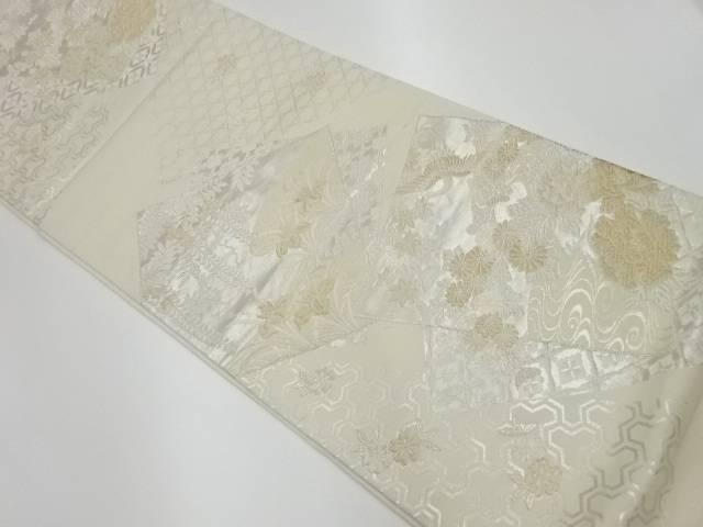 【IDnet】 色紙に花々模様織出し全通袋帯【リサイクル】【中古】【着】