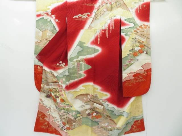 【IDnet】 振袖 地紋入り 宮中に古典草花文 着物【リサイクル】【中古】【着】
