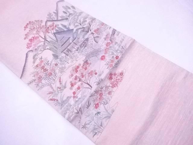【IDnet】 袋帯 手刺繍 白川郷 遠山家屋風景文【リサイクル】【中古】【着】